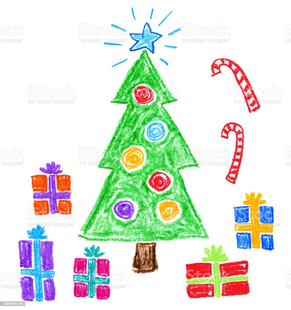 Childrens Style Drawing Christmas Tree And Gifts Stock Vector Art ...