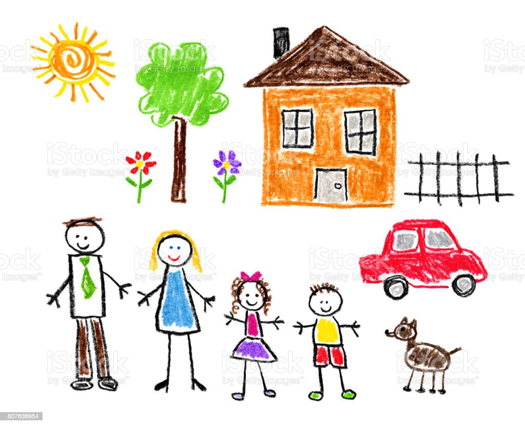 Childrens Style Drawing Family Theme Stock Vector Art