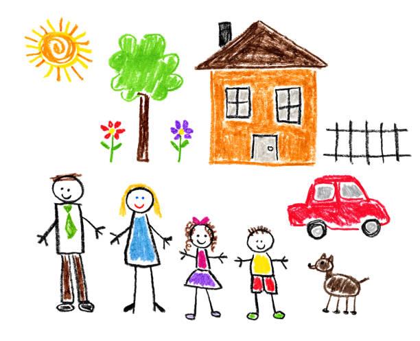 çocuk style çizim - aile tema - kids drawing stock illustrations