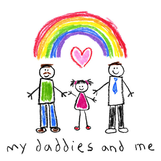 Children's Style Drawing - Fathers and Daugther Gay Family Happy gay family children's style drawing on white background - Little girl with her two fathers under a rainbow gay person stock illustrations