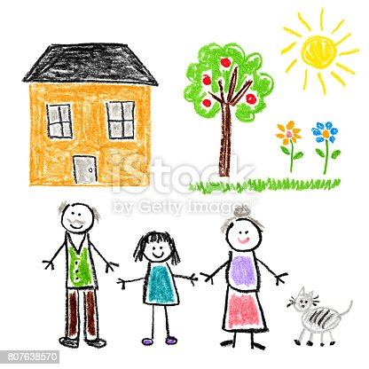 istock Children's Style Drawing - Girl with Grandparents 807638570