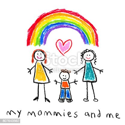 istock Children's Style Drawing - Mothers and Son Gay Family 807643562