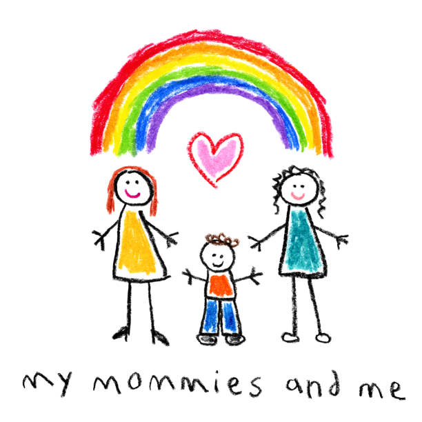 Children's Style Drawing - Mothers and Son Gay Family Happy gay family children's style drawing on white background - Little boy with her two mothers under a rainbow gay person stock illustrations