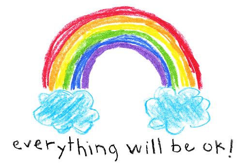 Children's Style Drawing - Rainbow Coronavirus (Covid-19) Themed