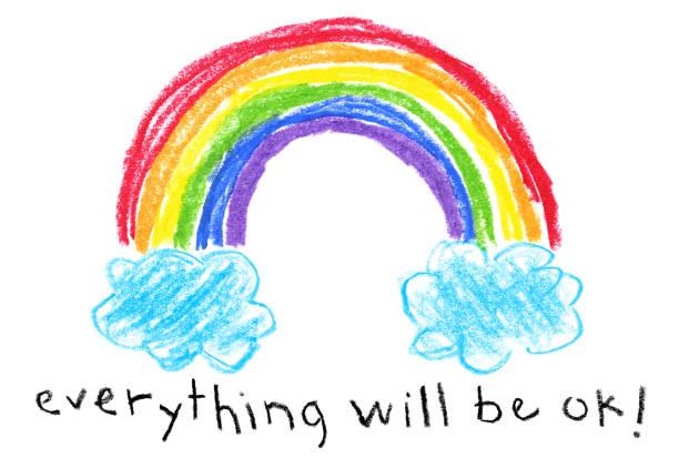 Children's Style Drawing - Rainbow Coronavirus (Covid-19) Themed vector art illustration