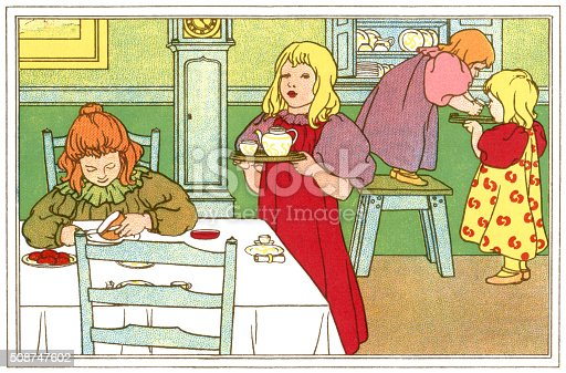 """Four young Victorian girls preparing their tea. One is sitting at the table while the others are getting out the crockery and taking the teapot to the table. From """"Christmas Posy - A Bunch of Verses for Children"""", a supplement to the Christmas Number of Woman for 1897. By Elizabeth Forrester and illustrated by Frank P Marriott. Published by Beeton & Company Limited, Fetter Lane, London."""