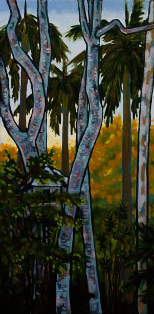 Children's Treehouse in Garden with Sunrise Background Oil Painting vector art illustration