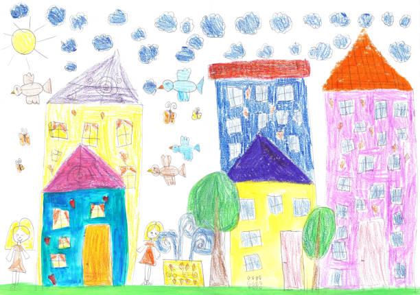 dziecko rysuje szczęśliwą rodzinę na spacer - dzieło artystyczne stock illustrations