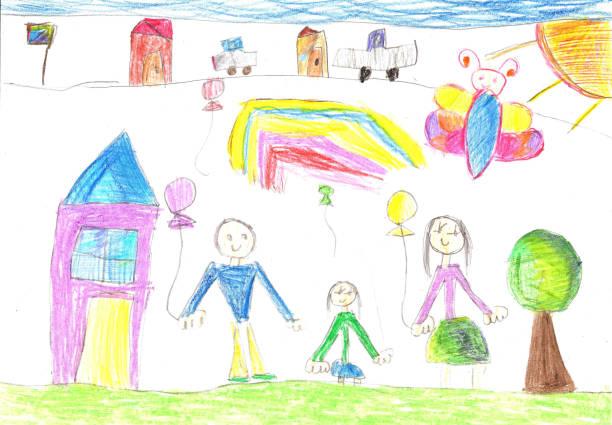 child's drawing a happy family - dzieło artystyczne stock illustrations