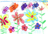 istock Child's drawing bees and flowers nature 464884192
