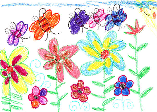 Child's drawing bees and flowers nature Child's drawing bees and flowers art product stock illustrations