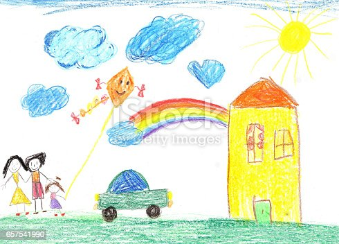 Child's drawing happy family, country house and car