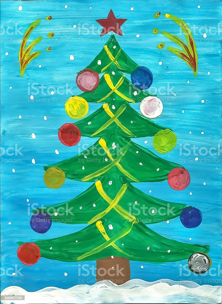 Ilustración De Un Niño De Dibujo De Un árbol De Navidad