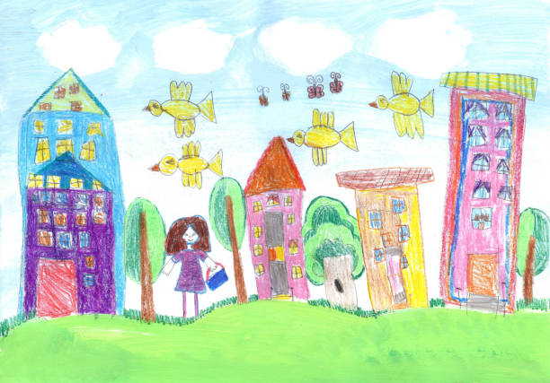 Child's drawing of a happy girl Child's drawing of a happy girl art product stock illustrations