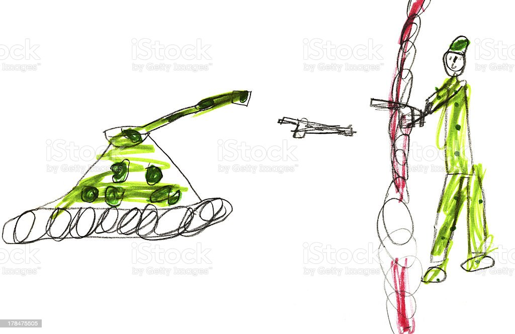 Childs Drawing Soldier On War Stock Illustration - Download Image Now -  iStock