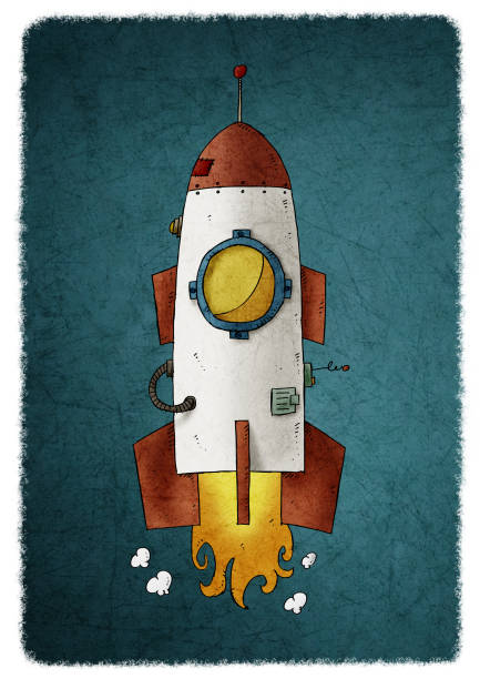child's illustration of a space rocket taking off and releasing fire and smoke. vector art illustration