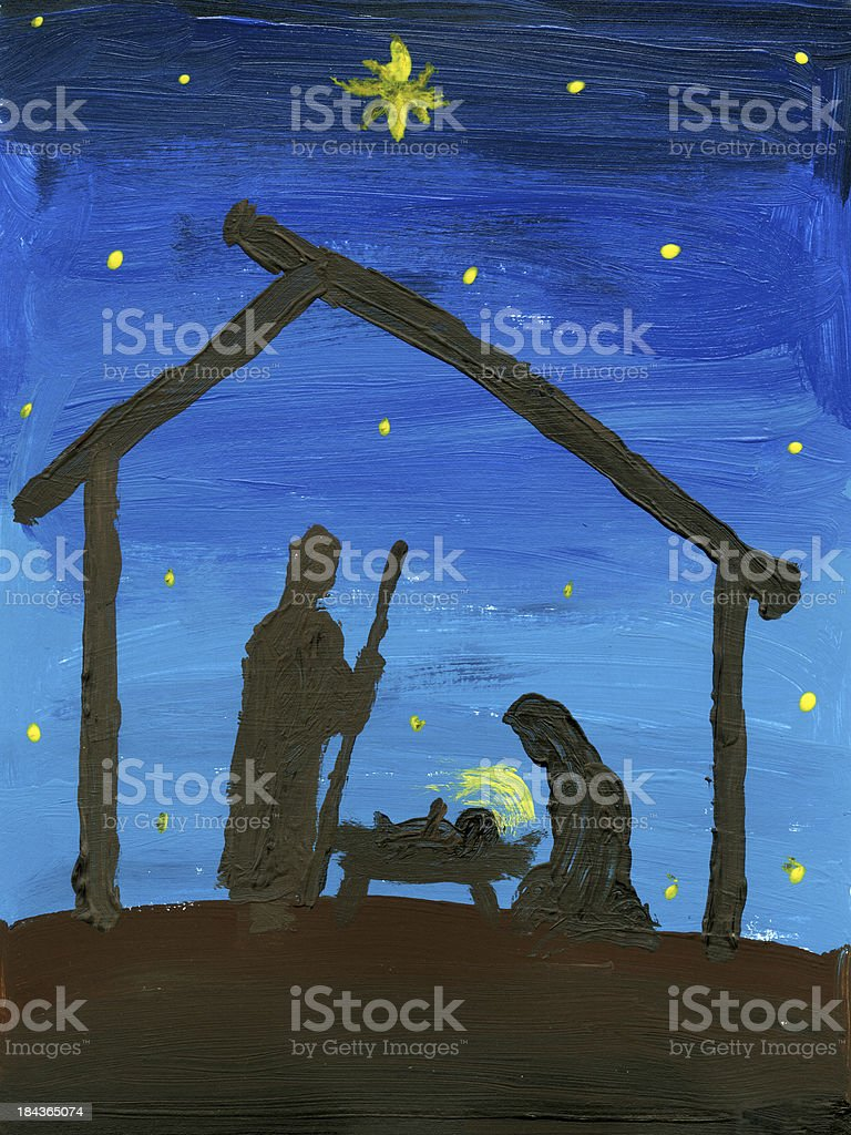 Child's Nativity Painting vector art illustration