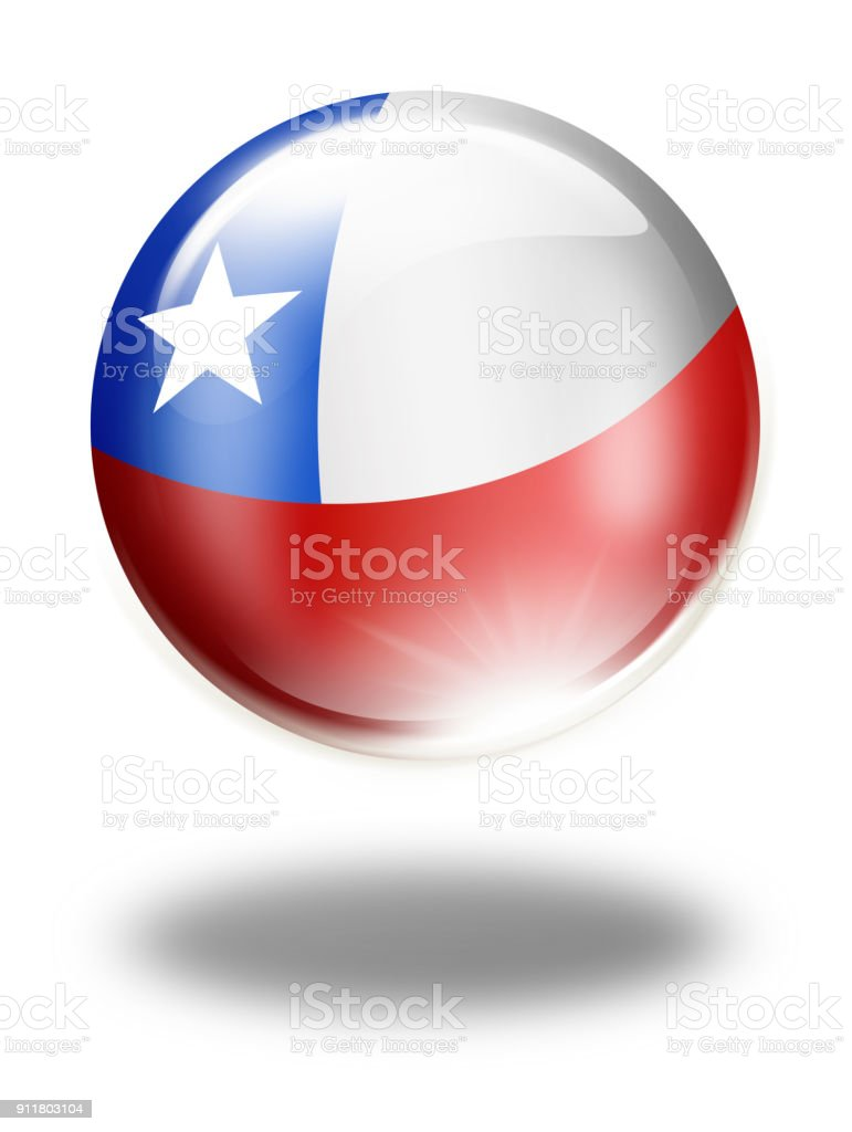 Chile button with chilean flag isolated on white vector art illustration