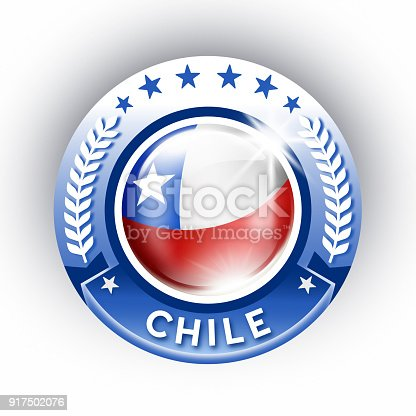 istock Chile button with chilean flag isolated on white 917502076