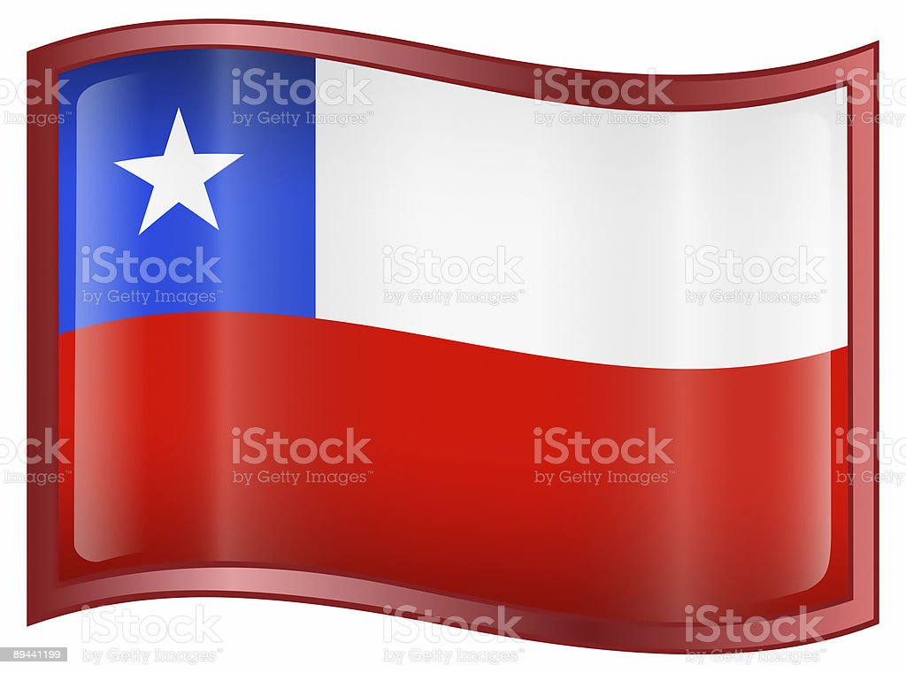 Chile Flag icon, isolated on white background. royalty-free stock vector art