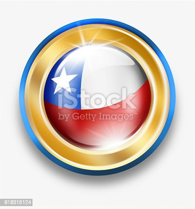 istock Chile golden button with chilean flag isolated on white 918315124