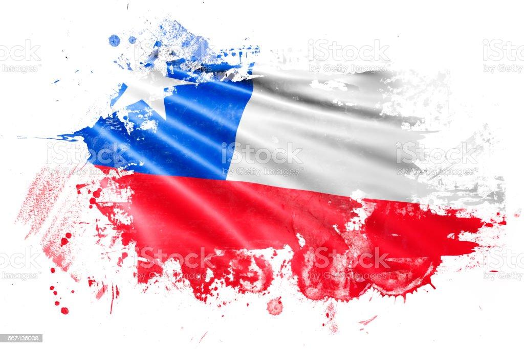 Chile Ink Grunge Flag vector art illustration