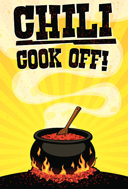 chili cook off flyer chili cook off flyer with copy space for your even details cooking competition stock illustrations