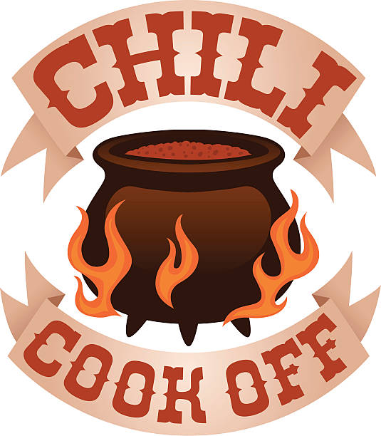 chili cook off logo chili cook off graphic with text cooking competition stock illustrations