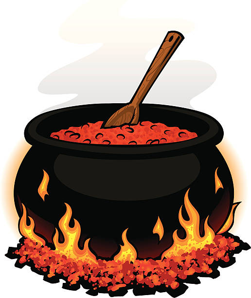 chili pot pot of chili cooking on hot coals cooking competition stock illustrations