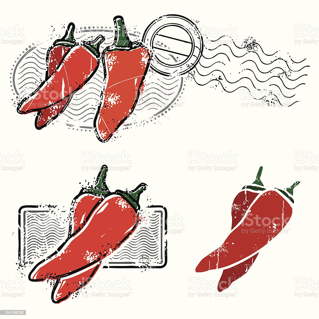 Chilipeppers on the scene like daaang thats hot royalty-free stock vector art