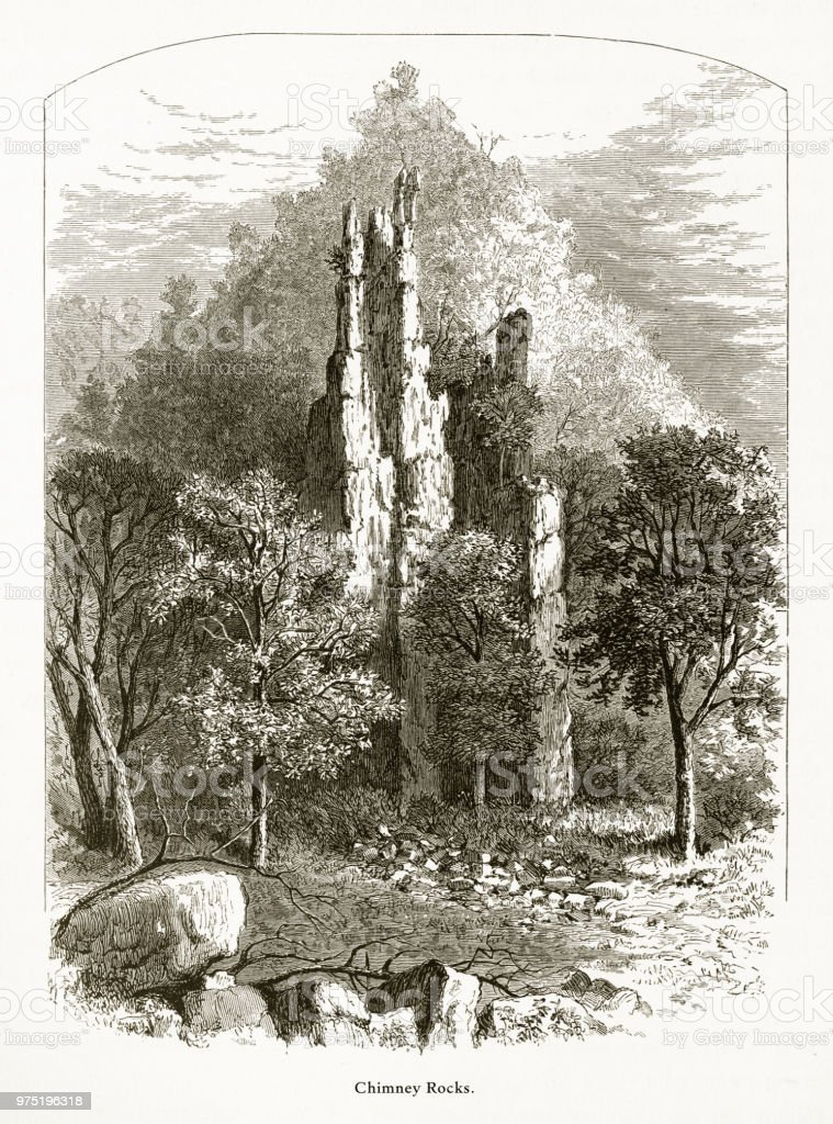 Chimney Rocks, Petersburg, West Virginia, United States, American Victorian Engraving, 1872 vector art illustration