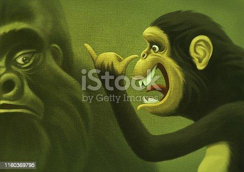 digital painting / raster illustration of playful chimpanzee grimacing at gorilla