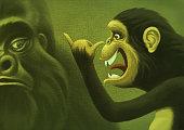 chimpanzee grimacing at gorilla
