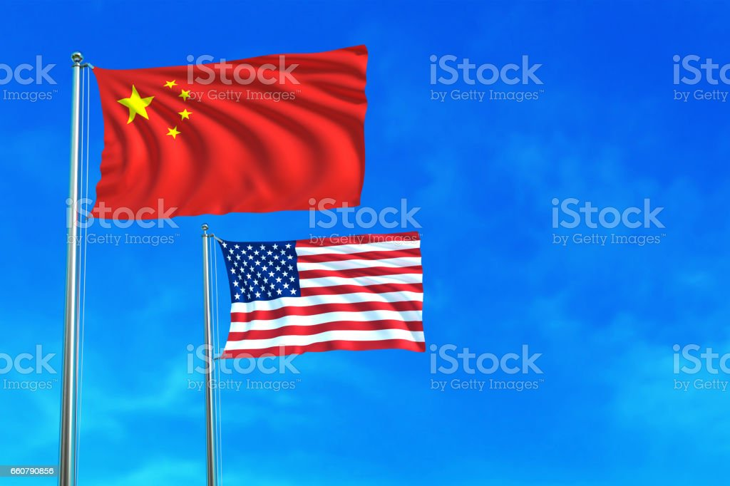 China and United States (USA) flags on the blue sky. vector art illustration
