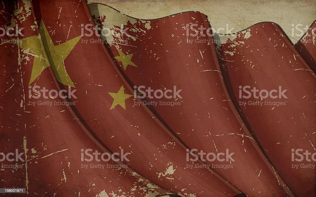 China Flag Old Paper royalty-free stock vector art