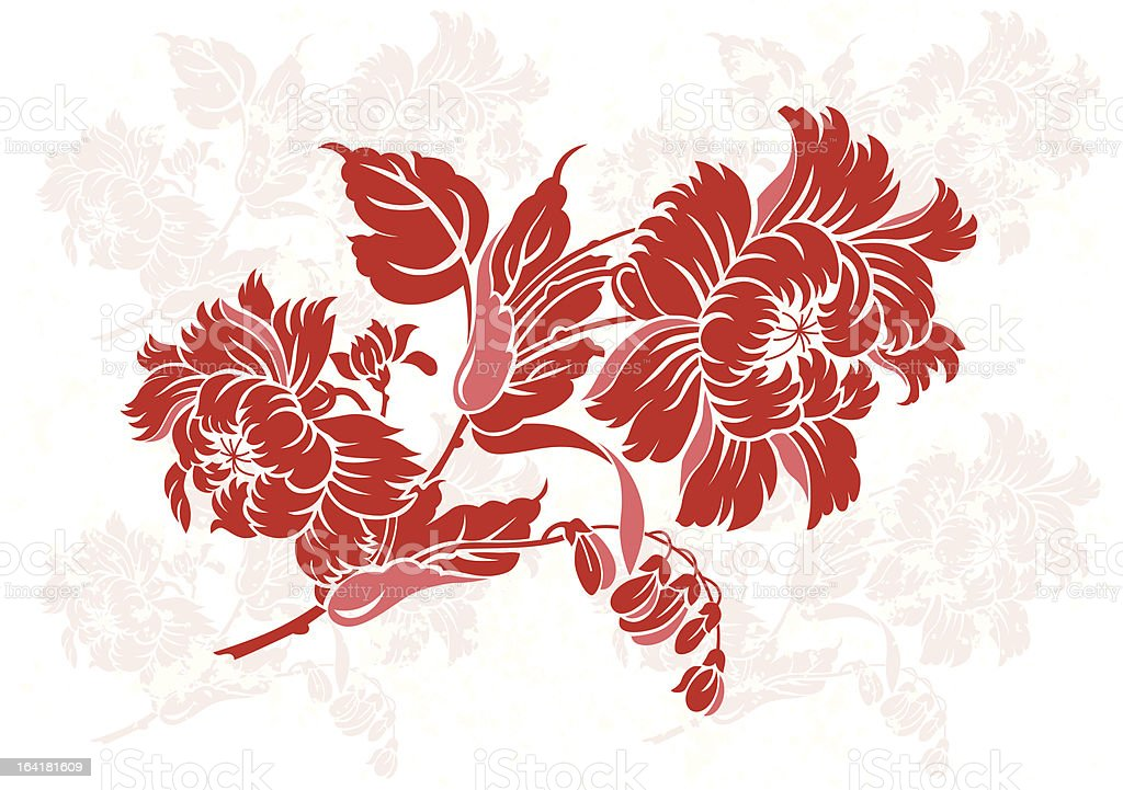 China Floral Ornament Color royalty-free stock vector art