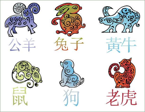 中国の年間 horoscope 文字 - 野生動物のカレンダー点のイラスト素材/クリップアート素材/マンガ素材/アイコン素材