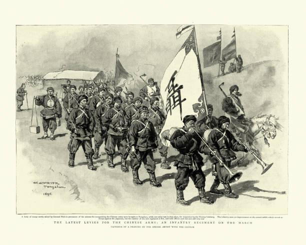 bildbanksillustrationer, clip art samt tecknat material och ikoner med kinesiska armén avgifter, infanteri regemente på mars, 19th century - chinese military