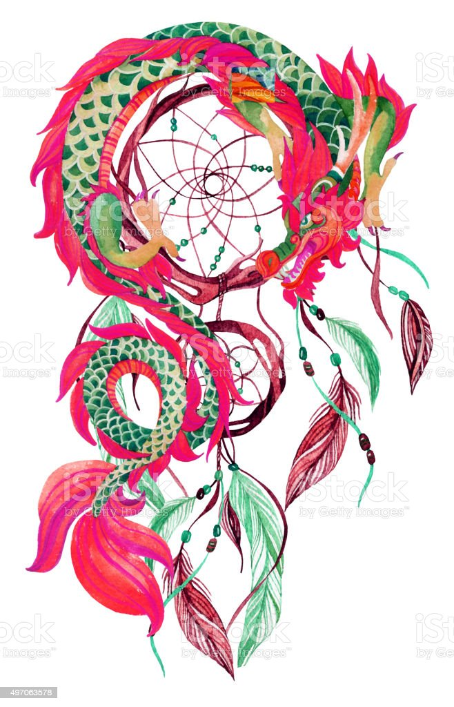 Chinese Dragon And Dreamcatcher Card Stock Vector Art