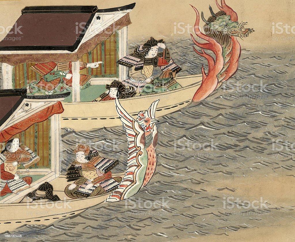 Chinesischer Drache Boote - Lizenzfrei Aquarell Stock-Illustration