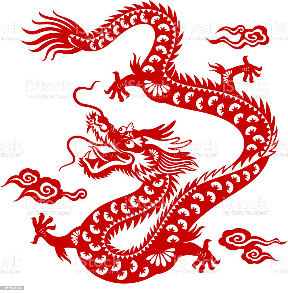 Chinese dragon papercut art stock vector art 167590204 for Chinese paper cutting templates dragon