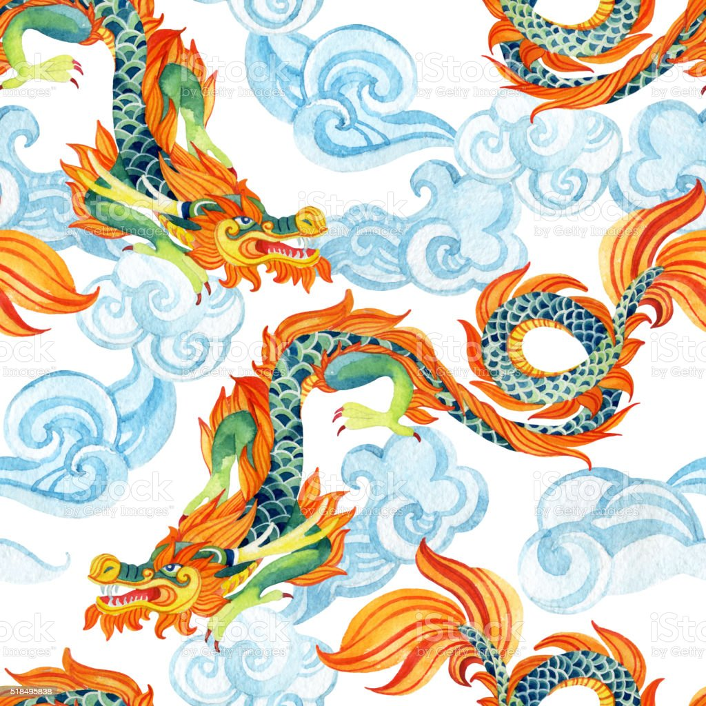 Chinese Dragon Seamless Pattern Asian Dragon Illustration ...