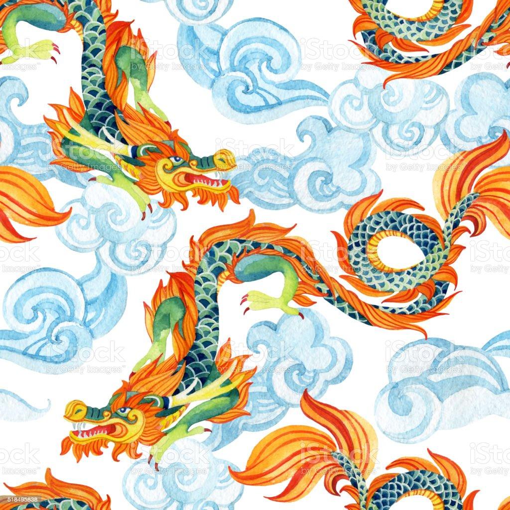 Dragón Chino Patrón Sin Costuras Asiático Dragón Ilustración - Arte ...