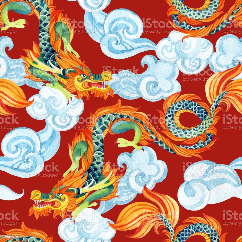 Chinese Dragon seamless pattern. Asian dragon illustration vector art illustration