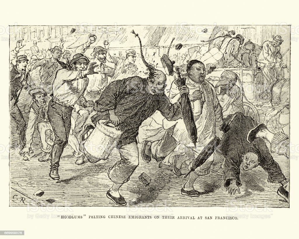 Chinese emigrants being attacked by locals, San Francisco, 19th Century vector art illustration