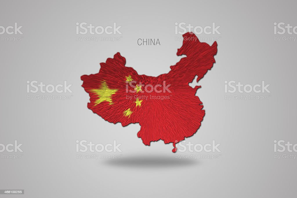 Chinese flag on China map. royalty-free chinese flag on china map stock vector art & more images of arts culture and entertainment