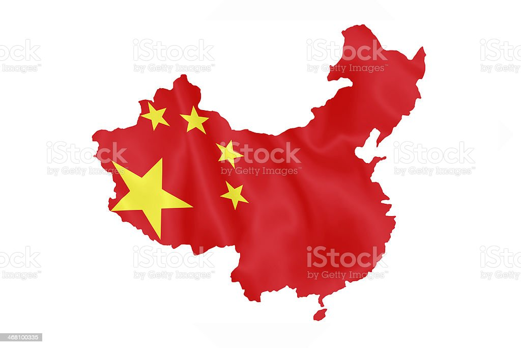 Chinese flag on China map. vector art illustration