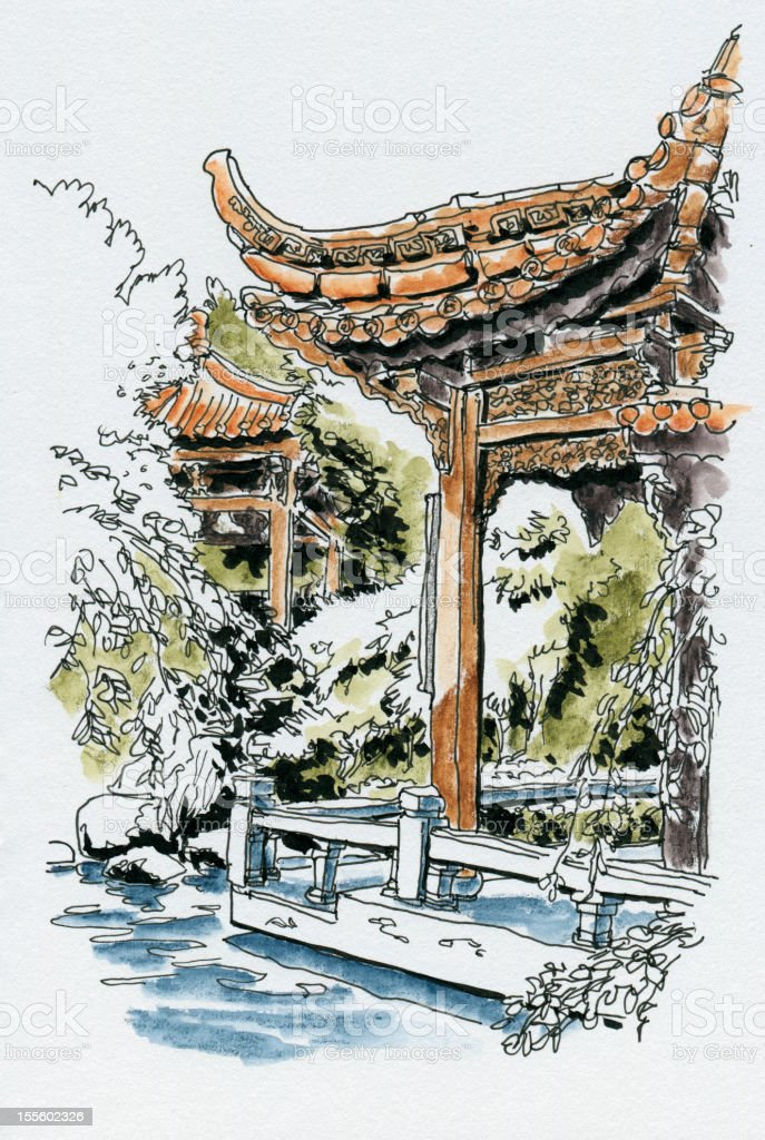 Jardin chinois westpark aquarelle dessin lencre stock vecteur libres de droits 155602326 istock - Dessin arbre chinois ...