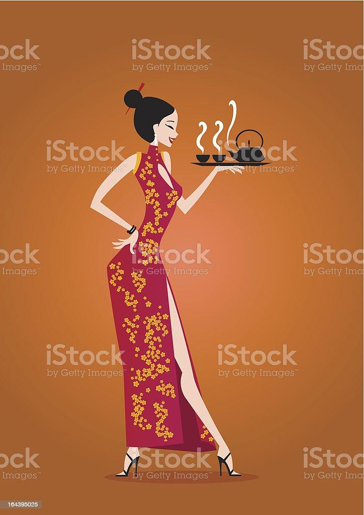 Ragazza con tè cinese - illustrazione arte vettoriale