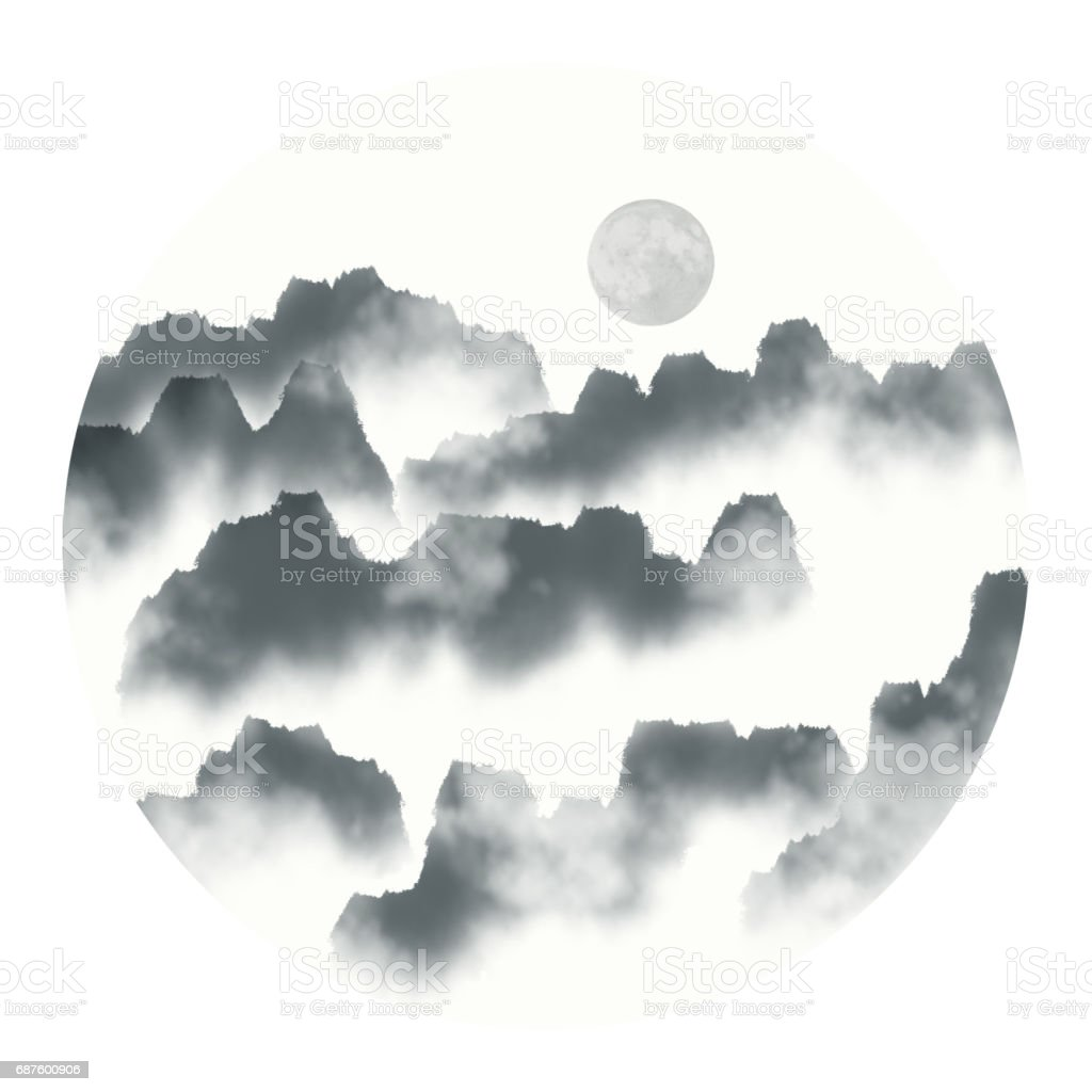 Chinese Ink Landscape Painting Royalty Free Stock Vector Art Amp
